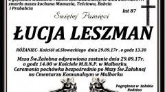 Zmarła Łucja Leszman. Żyła 87 lat.