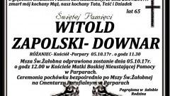 Zmarł Witold Zapolski - Downar. Żył 65 lat.