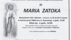 Zmarła Maria Zatoka. Żyła 61 lat.