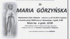 Zmarła Maria Górzyńska. Żyła 71 lat.