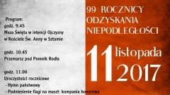 Sztum: Zapraszamy na obchody 99 rocznicy odzyskania niepodległości – 11.11.2017