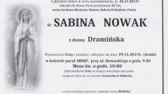 Zmarła Sabina Nowak. Żyła 67 lat.
