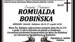 Zmarła Romualda Bobińska. Żyła 69 lat