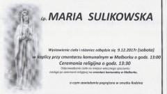 Zmarła Maria Sulikowska. Żyła 72 lat.