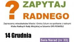 """Sztum: Zapytaj i podsumuj pracę radnych OPS """"Powiśle"""" - 14.12.2017"""