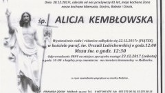Zmarła Alicja Kembłowska. Żyła 81 lat