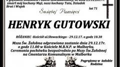 Zmarł Henryk Gutowski. Żył 71 lat.