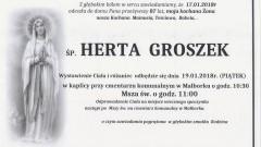 Zmarła Herta Groszek. Żyła 87 lat.