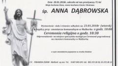 Zmarła Anna Dąbrowska. Żyła 71 lat.