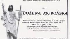 Zmarła Bożena Mowińska. Żyła 60 lat.