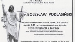 Zmarł Bolesław Podlasiński. Żył 62 lata.