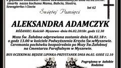 Zmarła Aleksandra Adamczyk. Żyła 62 lata.