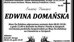 Zmarła Edwina Domańska. Żyła 82 lat.