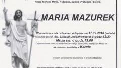 Zmarła Maria Mazurek. Żyła 93 lat.
