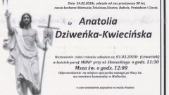 Zmarła Anatolia Dziweńka- Kwiecińska. Żyła 90 lat.