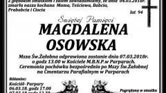 Zmarła Magdalena Osowska. Żyła 94 lata.