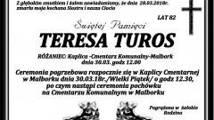 Zmarła Teresa Turos. Żyła 82 lata.