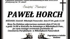 Zmarł Paweł Horch. Żył 94 lata.
