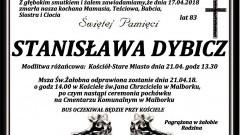 Zmarła Stanisława Dybicz. Żyła 83 lata.