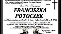 Zmarła Franciszka Potoczek. Żyła 96 lat.