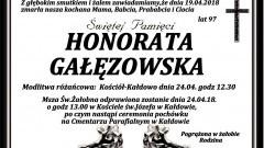 Zmarła Honorata Gałęzowska. Żyła 97 lat