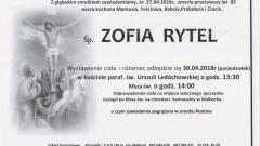 Zmarła Zofia Rytel. Żyła 83 lata.