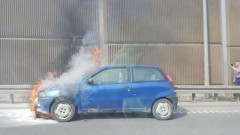 Pożar auta osobowego w Gdańsku.