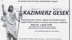 Zmarł Kazimierz Gesek. Żył 72 lata.