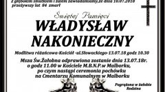 Zmarł Władysław Nakonieczny. Żył 84 lata.
