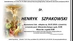 Zmarł Henryk Szpakowski. Żył 86 lat.