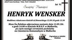 Zmarł Henryk Wensker. Żył 91 lat.