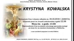 Zmarła Krystyna Kowalska. Żyła 68 lat.