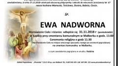 Zmarła Ewa Nadworna. Żyła 67 lat.