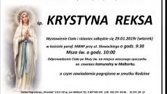 Zmarła Krystyna Reksa. Żyła 79 lat.