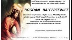 Zmarł Bogdan Balcerzewicz. Żył 63 lata.