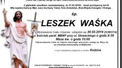 Zmarł Leszek Waśka. Żył 63 lata.