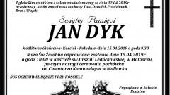 Zmarł Jan Dyk. Żył 86 lat.