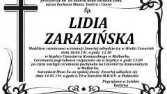 Zmarła Lidia Zarazińska. Żyła 68 lat.