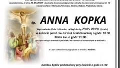 Zmarła Anna Kopka. Żyła 78 lat.