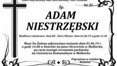 Zmarł Adam Niestrzębski. Żył 81 lat.