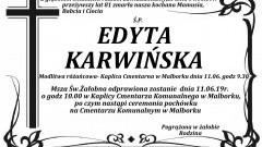 Zmarła Edyta Karwińska. Żyła 81 lat.