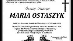 Zmarła Maria Ostaszyk. Żyła 71 lat.