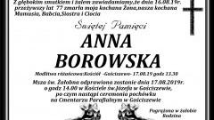 Zmarła Anna Borowska. Żyła 77 lat.