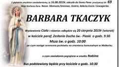 Zmarła Barbara Tkaczyk. Żyła 69 lat.