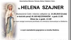 Zmarła Helena Szajner. Żyła 91 lat.