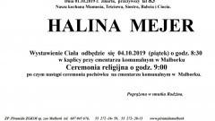 Zmarła Halina Mejer. Żyła 83 lata.