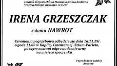 Zmarła Irena Grzeszczak.