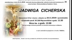 Zmarła Jadwiga Cicherska. Żyła 79 lat.