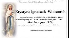 Zmarła Krystyna Ignaczak-Wieczorek. Żyła 82 lata.