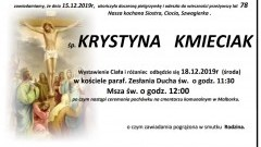 Zmarła Krystyna Kmieciak. Żyła 78 lat.